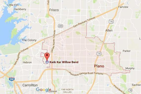 Plano Map and Kwik Kar Willow Bend